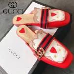 GUCCI鞋子-007 古馳時尚復古風雙G扣配織帶方頭平底拖鞋