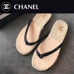 CHANEL鞋子-0016-2 香奈兒夏日西班牙進口牛皮草編平底夾趾拖鞋一字拖
