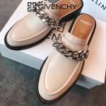 GIVENCHY鞋子-002 紀梵希百搭新款鏈條裝飾進口小牛皮平底拖鞋