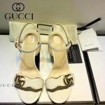 GUCCI鞋子-006-6 古馳專櫃同步黃銅LOGO進口絨皮粗跟高跟涼鞋