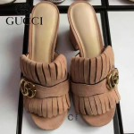 GUCCI鞋子-008-10 古馳專櫃新款雙G扣配穆勒流蘇魚嘴高跟拖鞋