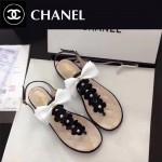 CHANEL鞋子-0018-4 香奈兒春夏最新蝴蝶結珍珠花朵平底夾趾涼鞋