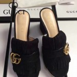 GUCCI鞋子-008-6 古馳專櫃新款雙G扣配穆勒流蘇魚嘴高跟拖鞋