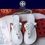 TORY BURCH鞋子-001-6 托里伯奇經典時尚進口牛皮平底夾趾拖鞋