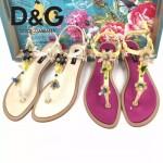 D&G鞋子-005-2 杜嘉班納夏季新款純天然瑪瑙珍珠水晶鑲鑽平底夾趾涼鞋