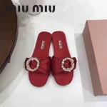 Miu Miu鞋子-002-2 繆繆專櫃爆款鑲嵌奧地利水鑽綢緞鞋面平底拖鞋