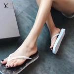 LV鞋子-003-5 路易威登專櫃限量紀念版黑花圖案平底人字拖沙灘鞋