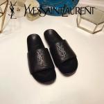 YSL鞋子-002 聖羅蘭潮流最新款噴漆LOGO進口混種羊皮露趾拖鞋