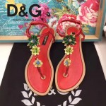 D&G鞋子-005-3 杜嘉班納夏季新款純天然瑪瑙珍珠水晶鑲鑽平底夾趾涼鞋