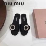 Miu Miu鞋子-002 繆繆專櫃爆款鑲嵌奧地利水鑽綢緞鞋面平底拖鞋