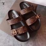 LV鞋子-004-2 路易威登時尚最新經典老花圖案進口牛皮拖鞋沙灘鞋