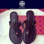 TORY BURCH鞋子-001-7 托里伯奇經典時尚進口牛皮平底夾趾拖鞋