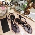 D&G鞋子-005-6 杜嘉班納夏季新款純天然瑪瑙珍珠水晶鑲鑽平底夾趾涼鞋