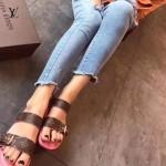 LV鞋子-004-3 路易威登時尚最新經典老花圖案進口牛皮拖鞋沙灘鞋