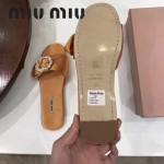 Miu Miu鞋子-002-4 繆繆專櫃爆款鑲嵌奧地利水鑽綢緞鞋面平底拖鞋