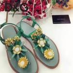 D&G鞋子-005 杜嘉班納夏季新款純天然瑪瑙珍珠水晶鑲鑽平底夾趾涼鞋
