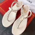 RC鞋子-001-2 專櫃春季最新款原單純手工藝珍珠蝴蝶平底夾趾涼鞋