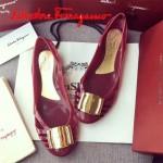 Ferragamo鞋子-001 菲拉格慕人氣經典款鞋面金屬扣配塑膠材質平底果凍鞋