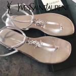 YSL鞋子-001 聖羅蘭時尚原版定制進口牛皮平底夾趾涼鞋