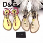D&G鞋子-005-4 杜嘉班納夏季新款純天然瑪瑙珍珠水晶鑲鑽平底夾趾涼鞋