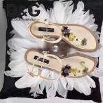 D&G鞋子-005-5 杜嘉班納夏季新款純天然瑪瑙珍珠水晶鑲鑽平底夾趾涼鞋