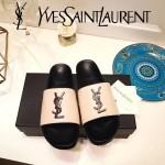 YSL鞋子-002-2 聖羅蘭潮流最新款噴漆LOGO進口混種羊皮露趾拖鞋