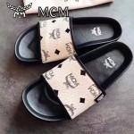 MCM鞋子-001-2 夏季新款經典專供canvascoated皮料印花平底拖鞋沙灘鞋