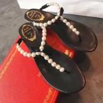 RC鞋子-001 專櫃春季最新款原單純手工藝珍珠蝴蝶平底夾趾涼鞋
