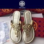 TORY BURCH鞋子-001-4 托里伯奇經典時尚進口牛皮平底夾趾拖鞋