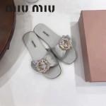 Miu Miu鞋子-002-3 繆繆專櫃爆款鑲嵌奧地利水鑽綢緞鞋面平底拖鞋