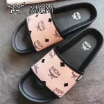 MCM鞋子-001-4 夏季新款經典專供canvascoated皮料平底拖鞋沙灘鞋