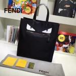 FENDI 246-2 專櫃最新款BAG BUGS小怪獸黑色原版皮手提單肩購物袋