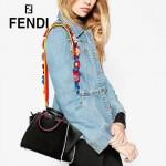 FENDI 279-7 個性百搭黑色原版牛皮搭配彩色毛邊琺瑯裝飾條手提單肩包