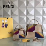 FENDI 210 春夏時裝秀ALCANTARA多色拼接原版小牛皮大小號手提單肩包