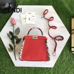 FENDI 2105S優質新品紅色原版荔枝紋手工蛇皮穿孔編織飾邊手提單肩包