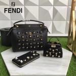FENDI 9293-2 精緻小巧鉚釘裝飾原單黑色牛皮迷你手提單肩包小貓包