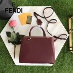 FENDI 2601-3 時尚精美紅色原版牛皮配毛邊側皮琺瑯裝飾條手提單肩包