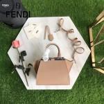 FENDI 279-3 個性百搭裸粉色原版牛皮搭配彩色毛邊琺瑯裝飾條手提單肩包