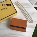 FENDI 2305-2 高貴女士之選土黃色原版皮迷你單肩手拿包晚宴包