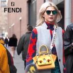 FENDI 279 個性百搭黃色原版牛皮搭配彩色毛邊琺瑯裝飾條手提單肩包