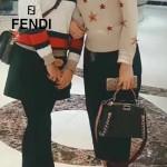 FENDI 6210M 高貴奢華手工蛇皮穿孔編織黑色原版牛皮搭配蟒蛇手腕大號手提單肩包