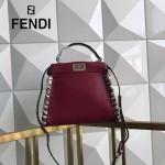 FENDI 6210 高貴奢華手工蛇皮穿孔編織紅色牛皮搭配蟒蛇手腕大小號手提單肩包