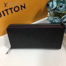 LV-M64838 黑色皮革搭配亮粉鑲邊時尚魅力拉鏈錢包