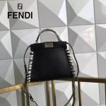 FENDI 6210-2 高貴奢華手工蛇皮穿孔編織黑色牛皮搭配蟒蛇手腕大小號手提單肩包