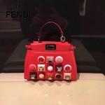 FENDI 9293 精緻小巧鉚釘裝飾原單紅色牛皮迷你手提單肩包小貓包