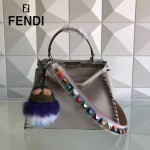 FENDI 2105AM 優質新品灰色原版荔枝紋手工蛇皮穿孔編織飾邊手提單肩包