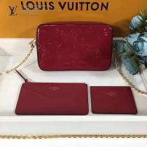 LV-64058 原版壓紋漆面Monogram皮革可拆卸卡片夾與拉鏈零錢袋隨心相配相機包