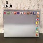 FENDI 0365-4人氣熱銷淺藍色原版小牛皮彩色亞克力鉚釘大小號拉鏈手拿包