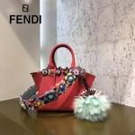 FENDI 333-2 名媛必備MINI 3JOURS紅色原版小牛皮亞克力花朵裝飾手提單肩包