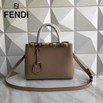 FENDI 253-2 春夏新品咖啡色原版小牛皮彩色亞克力鉚釘裝飾手提單肩包